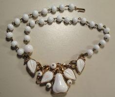 Vintage 40's Goldtoine Milk Glass Bead Fruit Pear Bib Pendant Necklace Trifari  lealeighlane