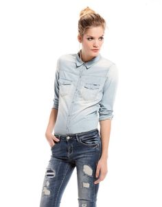 Bershka Romania - Bershka denim shirt Fashion Now c613ae5fb