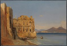 "Jules Louis Philippe Coignet was born in Paris in 1798 and died there in 1860. He was a noted landscape painter.  ""The Palace of Donn'Anna, Naples"", 1843"
