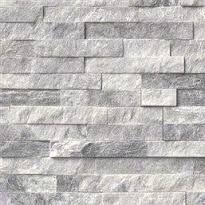 Stacked Stone Backsplash Grey And White