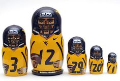 5 piece matryoshka doll set, featuring different famous West Virginia Mountaineers football team players. This set is made by hand in Russia. It is made of linden wood and then painted by a profession