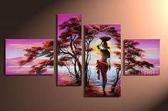 Pintados A Mano Grupo De Decoración De Pared Moderno Abstracto Arte Africano Pintura Al Óleo Sobre Lienzo