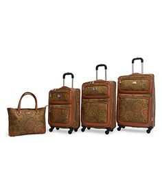 Look at this #zulilyfind! Adrienne Vittadini Brown Paisley Four-Piece Spinner Luggage Set by Adrienne Vittadini #zulilyfinds