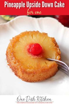 An easy to make Pineapple Upside Down Cake recipe made from scratch. This classic dessert features a tender, buttery mini cake with a perfectly caramelized pineapple slice and a cherry. This single serving treat is baked in a ramekin and is the perfect dessert for one. Dessert For Two, Summer Dessert Recipes, Easy Desserts, Easter Recipes, Small Desserts, Breakfast Recipes, Single Serve Desserts, Single Serving Recipes, Single Serving Cake