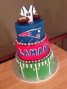 Patriots fan football birthday cake