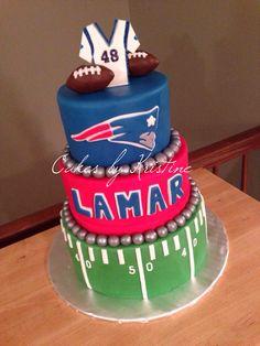 Patriots fan football birthday cake
