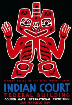 1939 WPA Federal Art Project poster for the Indian Court exhibit at the Golden Gate International Exposition in San Francisco