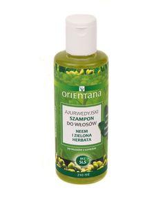 Orientana Ajurwedyjski Szampon do włosów NEEM I ZIELONA HERBATA. Naturalny szampon do włosów na bazie roślin indyjskich stworzony według formuły ajurwedyjskiej. Nie zawiera SLS/ SLES, silikonów, parabenów, ani innych szkodliwych substancji chemicznych. Nie plącze włosów, nawilża je i odżywia. Do włosów z łupieżem.