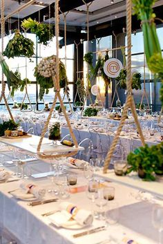 It looks like hanging decorations and vegetables are all the rage when it comes to dinner events! We love this design by Masterchef :)
