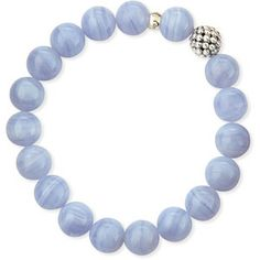 Lagos Women's 10mm Caviar-Ball Blue Lace Agate Beaded Stretch Bracelet #prom bracelets