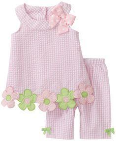 Bonnie Baby Baby Girls' Flower Applique Seersucker Capri Set, Pink, 24 Months                                                                                                                                                                                 Mais