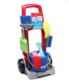 This wheeled trolley has everything needed to keep the playroom spic and span. A broom and dust pan, mop, bucket and more are perfect for pretend play and encourage kids to tidy up after themselves. Zane would love this! Preschool Toys, Toddler Preschool, Toddler Toys, Baby Toys, Kids Toys, Children's Toys, Bb Reborn, Cleaning Toys, Cleaning Cart