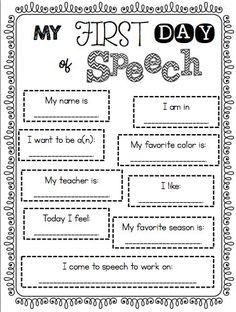Speechie Freebies: My First Day of Speech Poster
