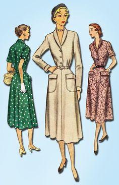 1950s Vintage McCalls Sewing Pattern 8321 Misses Shirtwaist Dress Size 16 34B