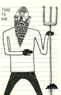 © Mulga 2012, Time To Die, Ink on Paper,9 x 14 cm