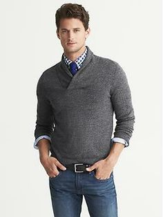 Extra-Fine Merino Wool Shawl-Collar Pullover | Banana Republic