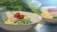 Can't Stand the Heat of Summertime Ramen? The Solution is the Colourful and Cool Hiyashi Chuuka (From The Garden of Words by Makoto Shinkai) Main Manga, Ramen Dishes, Ramen Food, Anime Bento, The Garden Of Words, Real Food Recipes, Yummy Food, Food Drawing, Aesthetic Food