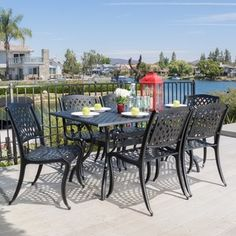 Shop for Outdoor Cayman 7-piece Cast Aluminum Black Sand Dining Set by Christopher Knight Home. Get free delivery at Overstock.com - Your Online Garden
