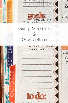 Erin Condren Life Planner - Family Meetings & Goal Setting