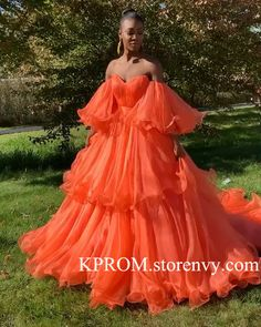 This dress is Made-To-Order,Ball Gown Orange Prom Dresses Off the Shoulder Evening Dresses with Ruffles. Elegant Dresses, Pretty Dresses, Dresses Dresses, Crazy Dresses, Amazing Dresses, Big Prom Dresses, Quince Dresses, Flowing Dresses, Special Dresses