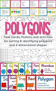 Task Cards and Activities Polygons task cards, activities, and posters for sorting and identifying polygons and shapes.Polygons task cards, activities, and posters for sorting and identifying polygons and shapes. Special Education Activities, Small Group Activities, Math Resources, Math Activities, Gifted Education, Math Education, Math Class, Third Grade Math, Second Grade