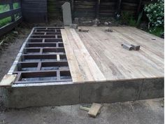 Not a timber frame but an interesting consideration, this customer is using up stand slabs and then using joist hangers to support the floor joist. Shed, Flooring, Frame, Modern, Consideration, Hangers, Garden, Bricolage, Picture Frame