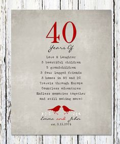 Surprise 40th wedding anniversary gift ideas for parents good