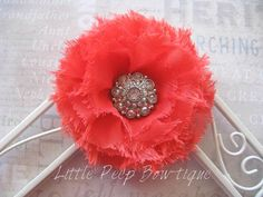 Coral flower hair bow Large fabric flower by LittlePeepBowtique, $8.50