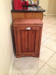 Diy Storage Cabinet Plans Beautiful Wooden Trash Can Cabinet – Sensii Custom Woodworking, Woodworking Projects Plans, Woodworking Bench, Rustic Furniture, Diy Furniture, Wooden Trash Can, Diy Storage Cabinets, Trash Can Cabinet, Cabinet Plans