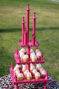 Princess Castle Cupcake Tower... love it! This could be done in grey for a boys party.