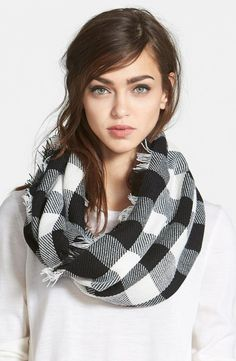 buff plaid infinity scarf - white and black OR red and black OR both!