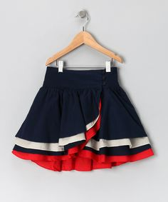 Navy & Red Wrap Skirt - Girls