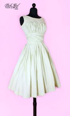 1950's ruched tea length dress