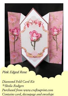 Pink Edged Rose - Diamond Fold Card
