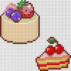 hama beads - round cake and cherry cake pattern