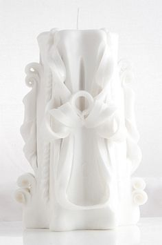 Handmade Carved Pillar Candle 18 cm tall ANGEL by AmeliaCandles