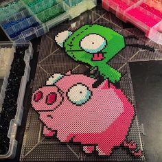 Gir and Pig - Invader Zim perler beads by horiuchisan
