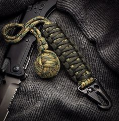 Multi Camo 1 Chromed Ball Bearing Survival Self Defense Paracord Monkeyfist with HK Hook