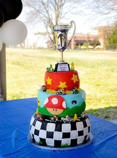 @DeAnne Maxson think this should be Lauren's cake this year :) Mario Kart Birthday Cake