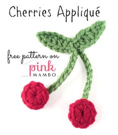 """Hi ho, cherry-o! This little crocheted cherry appliqué will add a sweet burst of color and charm to your favorite hat, towel, sundress, bag or just about anything!  Cherries Appliqué Size About 4""""..."""