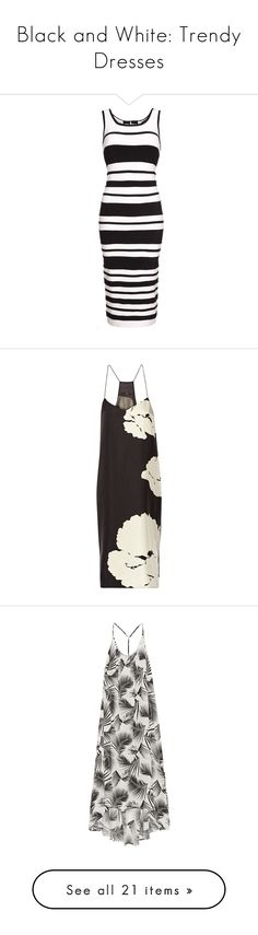 """""""Black and White: Trendy Dresses"""" by polyvore-editorial ❤ liked on Polyvore featuring blackandwhitedress, dresses, women, bodycon bandage dress, body con dress, black and white midi dress, rayon dress, mid calf dresses, black and botanical dress"""
