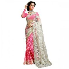 Dhwani Enterprise Georgette & Net Pink & White Embroidered Half & Half Saree - DHE12