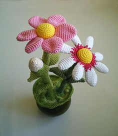 the Flower pot is amigurumi style.