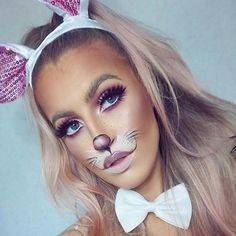 Are you looking for ideas for your Halloween make-up? Check out the post right here for cool Halloween makeup looks. : Are you looking for ideas for your Halloween make-up? Check out the post right here for cool Halloween makeup looks. Bunny Halloween Makeup, Bunny Halloween Costume, Bunny Makeup, Rabbit Halloween, Halloween Looks, Cute Makeup, Pretty Makeup, White Rabbit Makeup, Fox Makeup
