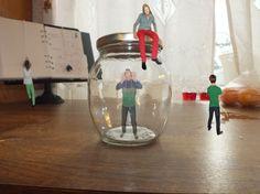 Size matters    Minimen in the kitchen. Trapped in bottle. Photoshop.  Visit my blog: Photowarp.wordpress.com