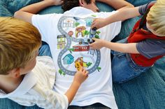 Car Play Shirt: Kids Drive Cars on Map, Back Massage for Dad, Christmas/Father's Day/Birthday Gift