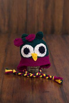 Baby owl crochet hat