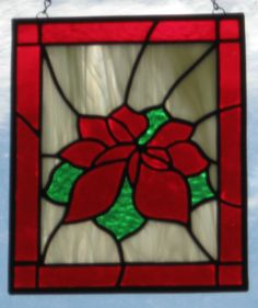 Poinsettia Suncatcher - Christmas Stained Glass