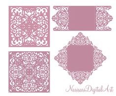 Laser cut Four Fold card pattern, Wedding Invitation Half Fold 5x5'', SVG, DXF, CDR Template, Quinceanera, Silhouette Cameo, Cricut