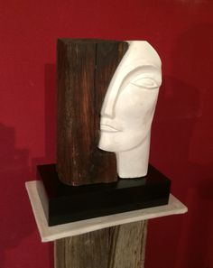 """""""L'Etrusque"""" Bois de chêne, plâtre modelé sur béton cellulaire H: 40 cm"""